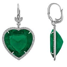 heart shaped earrings 42 00 carats large emerald diamond gold heart shaped earrings for