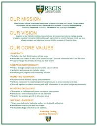 objectives of mission statement mission vision and values regis catholic schools regis mission vision and values