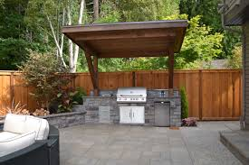 exterior design arched stone columns and backyard kitchen designs