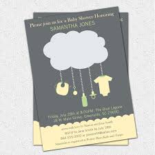 cloud baby shower invitations gender neutral green yellow