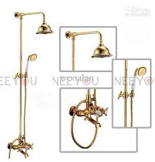 2017 bathroom dual handles exposed copper wall mount shower