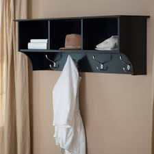 espresso wooden wall mount coat rack with shelving unit and chrome decorative
