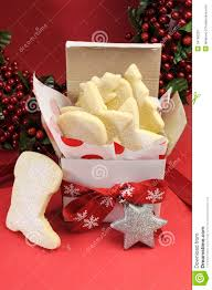 christmas gift box of shortbread biscuit cookies vertical