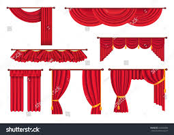 Sunshine Drapery Scarlet Pompous Curtains Collection On White Stock Vector
