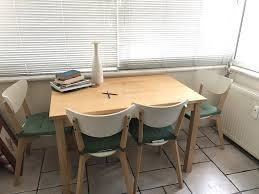ikea masa bej ikea bjorkudden masa ve 4 sandalye kullanılmış yemek masası