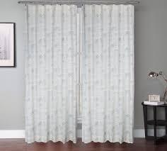 set of 2 vintage script natural linen designer drapery curtain