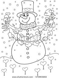 coloring page outline cartoon snowman christmas stock vector