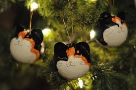 calico fur pattern cat ornaments