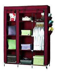Wardrobe Closet Organizer by Yutiriti Fancy Double Door Large Maroon Portable Multipurpose