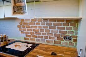 kitchen brick backsplash simple painted faux brick backsplash design with brown countertop