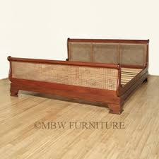 Mahogany Sleigh Bed Distressed Solid Mahogany Rattan King Sleigh Bed