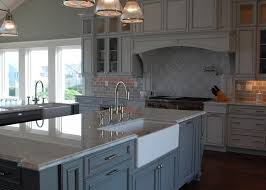 carrera marble countertop transitional kitchen restoration