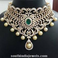 indian chokers necklace images Heavy bridal diamond choker necklace south india jewels jpg