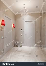 Marble Interior Walls Modern Hall Interior Design Marble Tiles Stock Illustration