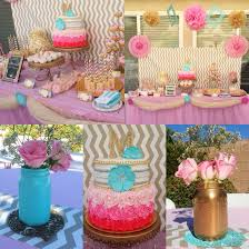 Blue And Gold Baby Shower Decorations by Shabby Chic Baby Shower Pink Gold And Tiffany Blue Party