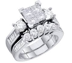 wedding ring set rings midwestjewellery 10k white gold bridal rings set