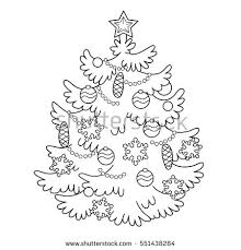 coloring page outline cartoon christmas tree stock vector