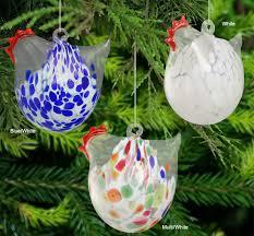 blown glass chicken ornament ornaments glass metal