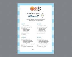 what u0027s in your phone game printable baby shower games