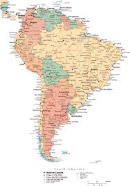 The Map Of South America by Large Political Map Of South America With Roads Major Cities And