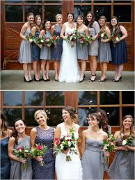 red and grey outdoor wedding in alabama gray bridal parties