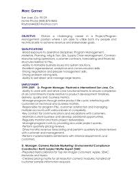 Sample Resume For Supply Chain Management by Project Management Resume Objective Free Resume Example And
