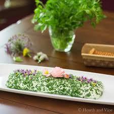 edible flower garnish herbed cheese spread with edible flower garnish