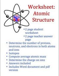 structure of an atom atoms free worksheets and worksheets