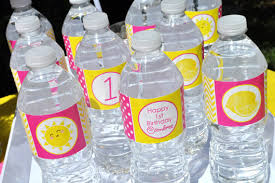 Decorate Water Bottle Lemonade And Sunshine Water Bottle Labels Birthday Party Drink