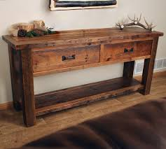 Wood Entry Table Sofa Endearing Rustic Sofa Table Tables Reclaimed Wood Rustic