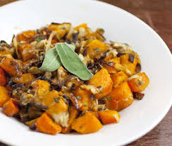 roasted butternut squash with caramelized onions gruyere and