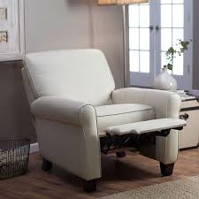 Leather Upholstery Chair Soft Cream Bonded Leather Upholstered Club Chair Recliner With