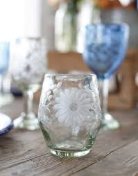 hand etched recycled stemless wine glass fair trade clear u2013 the