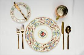 gold flatware rental antoinette violet dinner salad bread and butter plates and