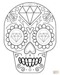 sugar skull with diamonds super coloring crochet tapestry