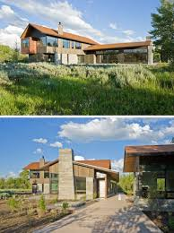 this contemporary house sits at the base of the teton mountains in