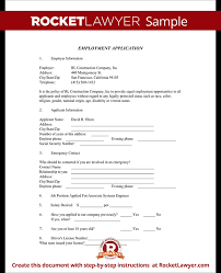 employment application form free application template