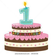 1st birthday happy birthday cake lit candle stock vector 29455729