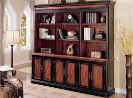 cherry u0026 brown two tone library wall w storage doors