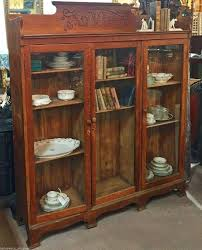 oak bookcases with glass doors antique oak library cabinet bookshelf bookcase china cabinet