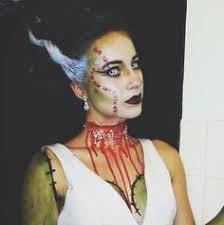 Bride Frankenstein Halloween Costume Ideas Green Body Paint Bride Frankenstein Makeup Pin Hair