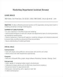 sample resume for marketing assistant top assistant sales manager