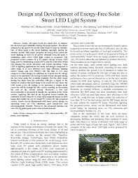 Solar Street Light Technical Specifications by Design And Development Of Energy Free Solar Street Led Light System
