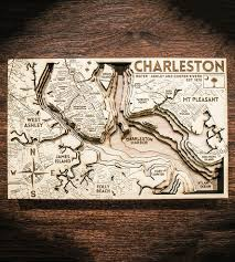 Charleston Map Charleston Carved Wood Map Features Local Pride Origin Artwork