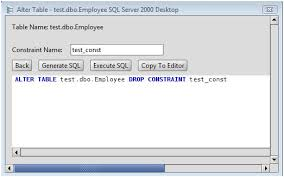 Delete From Table Sql Ms Sql Server Drop Constraint From A Ms Sql Server Database Table