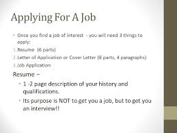 Job Application Resume by Applying For A Job Resume U2013 Ppt Download