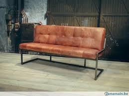 banc canape banc canapé chaise vintage industrielle cuir cognac metal a