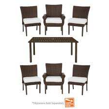 Hampton Bay Patio Dining Set - hampton bay mill valley 7 piece fully woven patio dining set with
