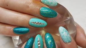 acrylic nails teal holo u0026 white stamping with gems nail design
