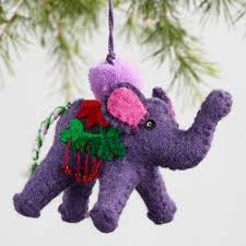 embroidered felt elephant ornaments set of 3 world market